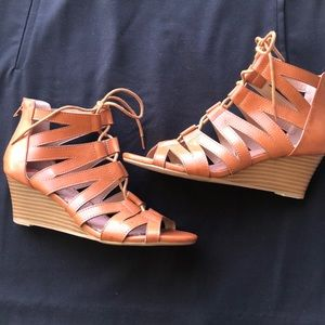 Lace up- zip back gladiator sandals